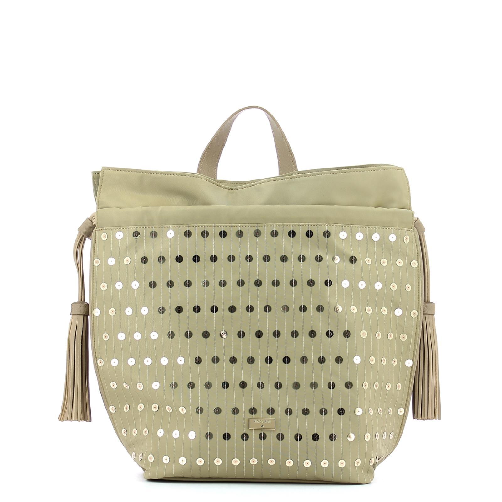 Paillettes Nylon Backpack-SEQUINS/BEIGE-UN