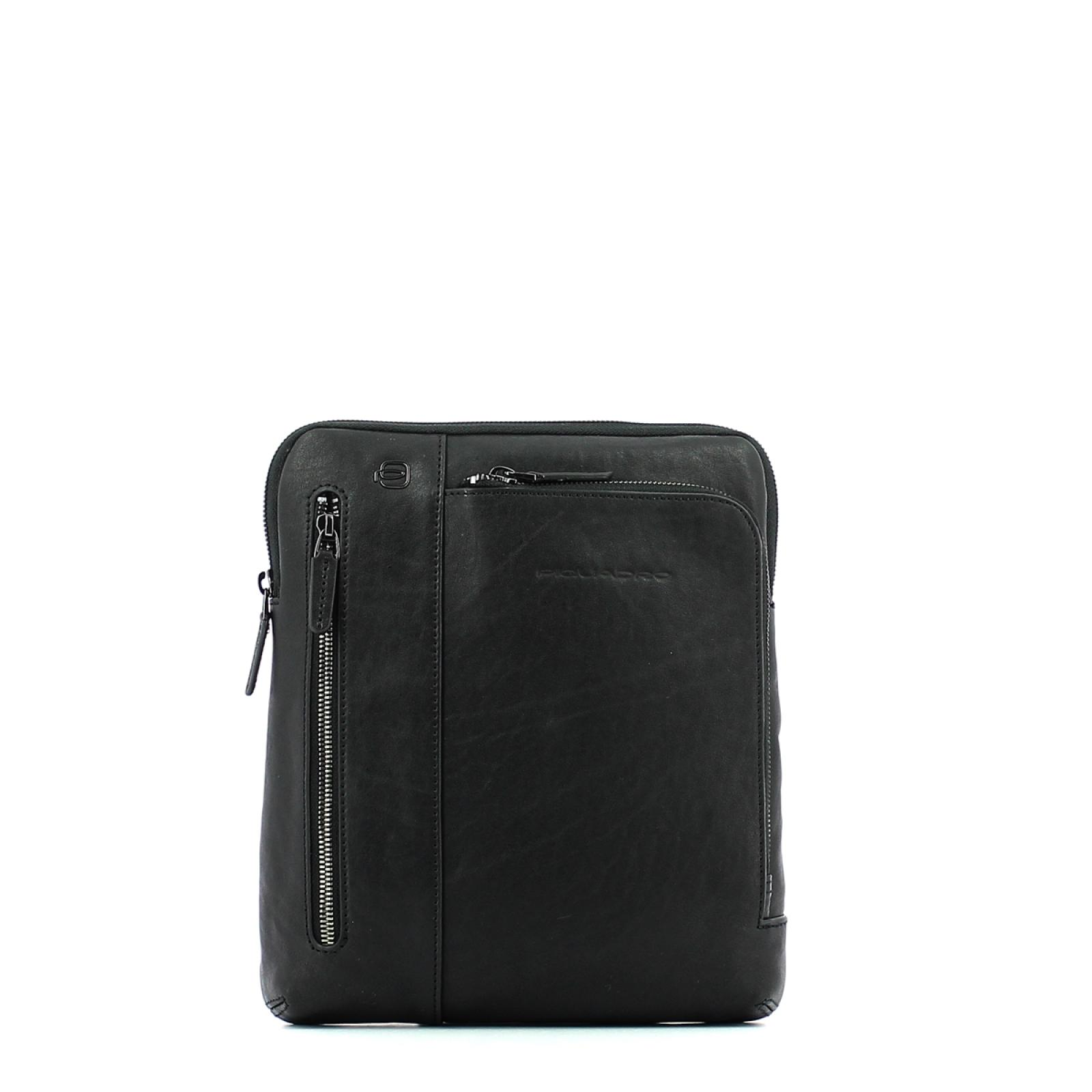 Leather Organised crossbody Black Square