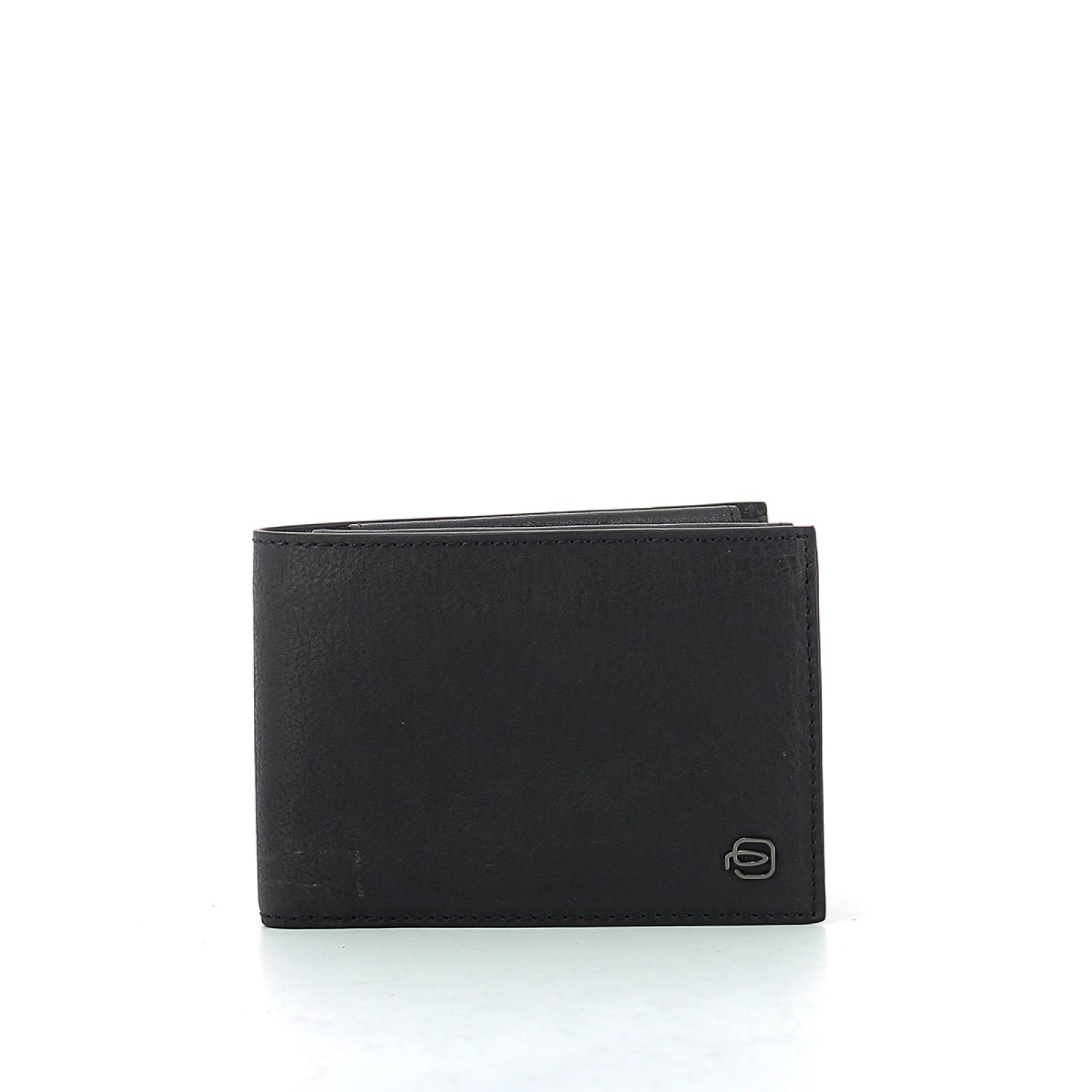Wallet with coin pouch Black Square-BLU-UN