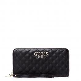 Guess Portafoglio Brielle Trapuntato Zip Around - BLACK