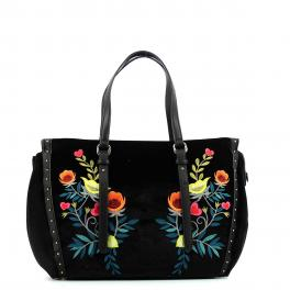 Shopping Bag Portulaca velvet-BLACK-UN